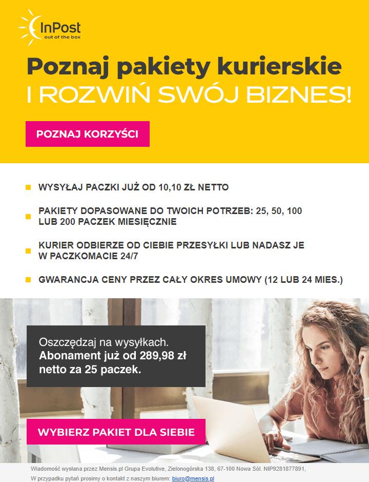 przykładowy mailing od Mensis.pl