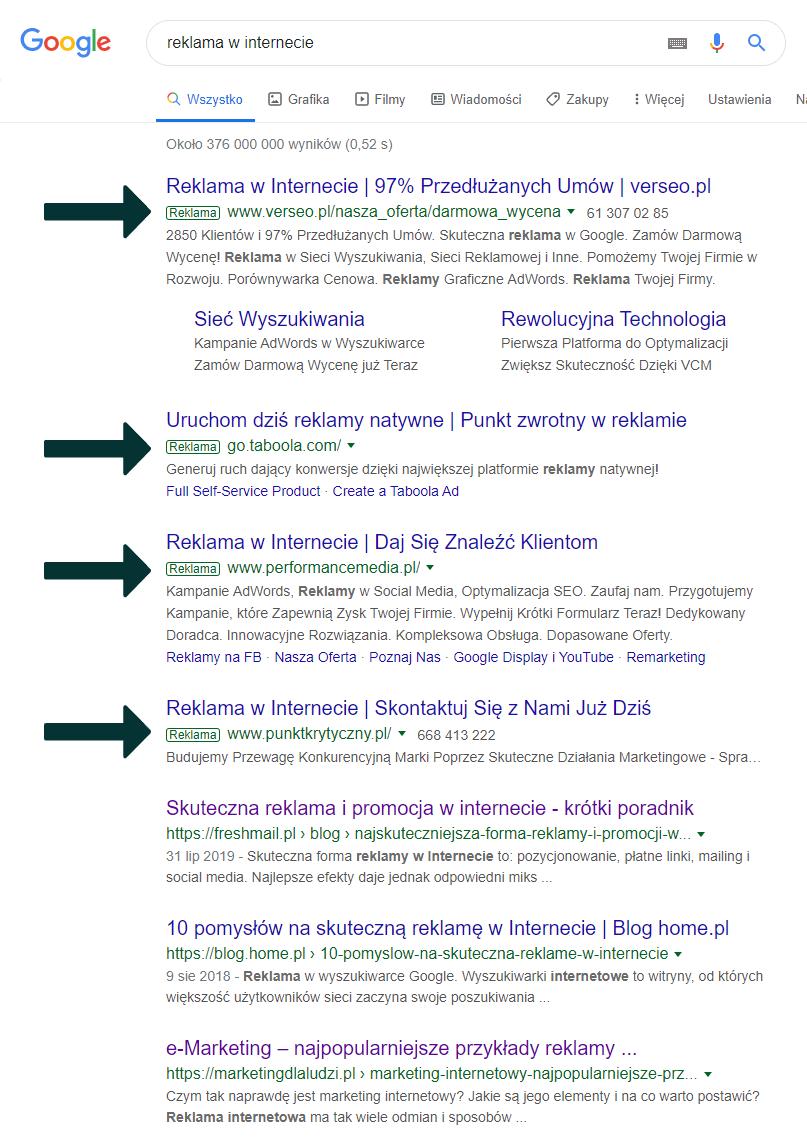 reklamy sponsorowane w wynikach wyszukiwania Google