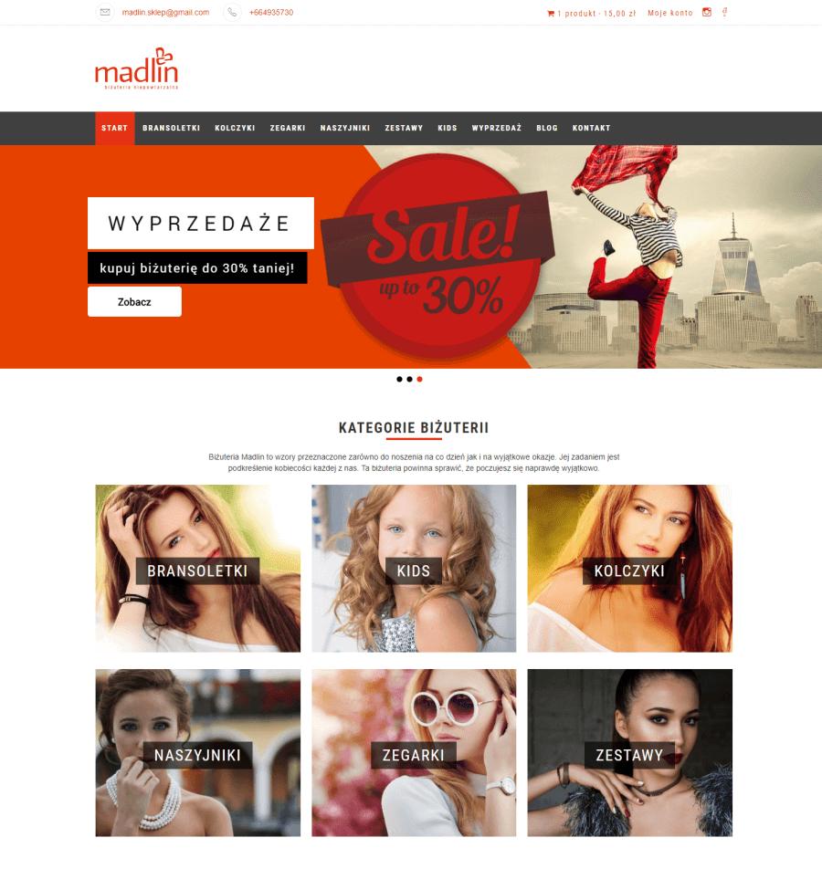 przykład prostego sklepu na Woocommerce: Madlin.pl