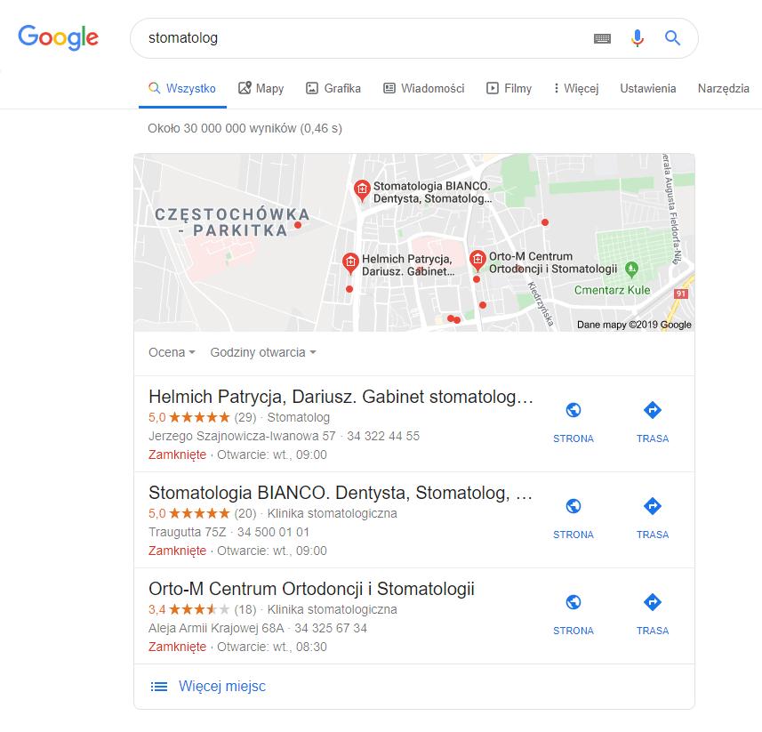 mapa Google w wynikach wyszukiwania wyszukiwarki