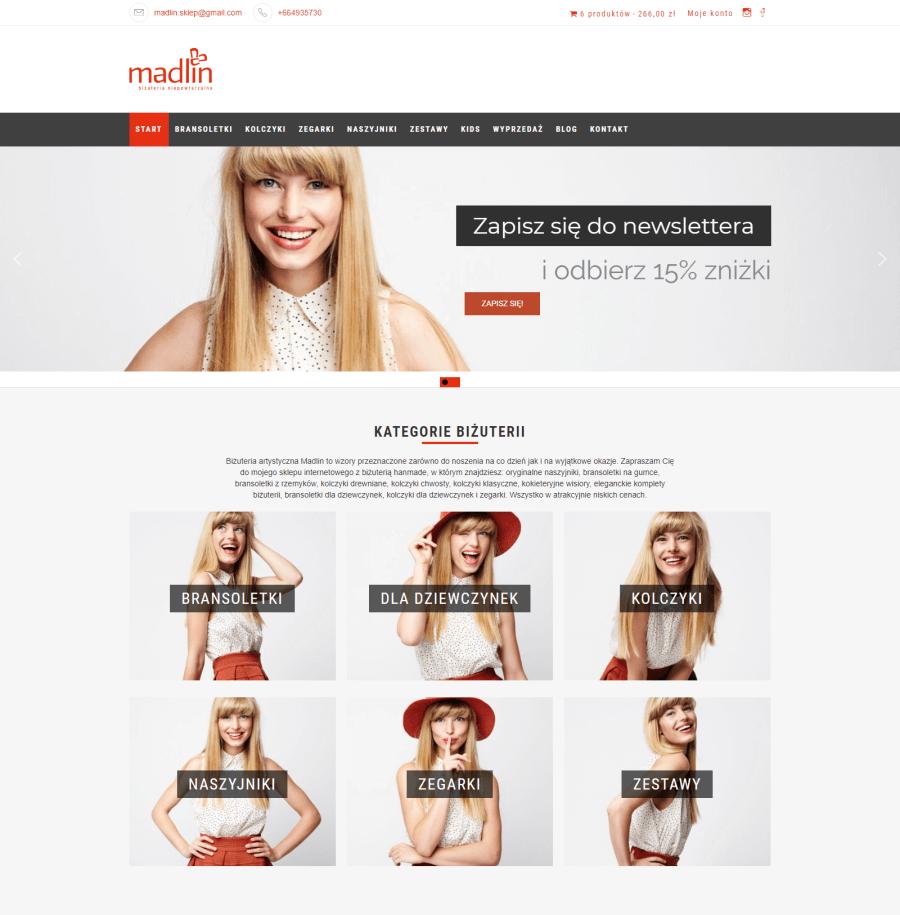 wygląd sklepu internetowego madlin.pl