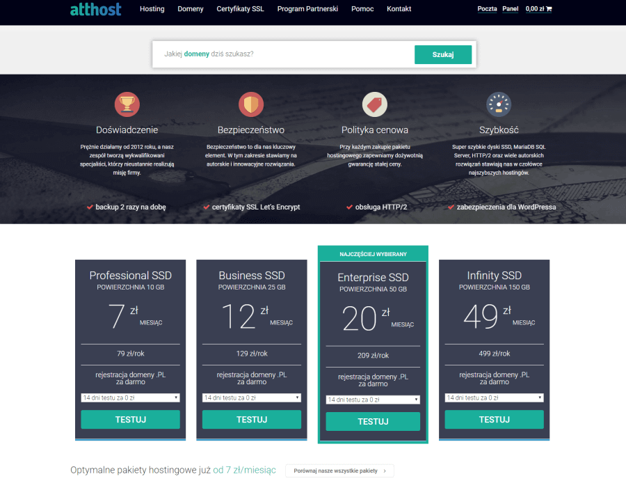 Atthost.pl - oferta hostingowa