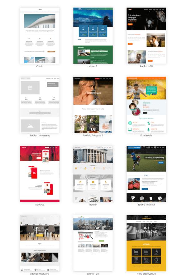 przykładowe szablony graficzne w Webwave
