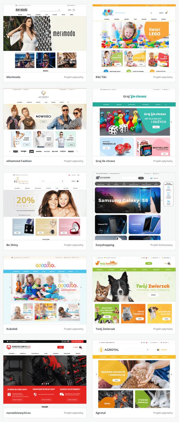 przykładowe sklepy z indywidualną oprawą graficzną wykonane przez Sky-shop